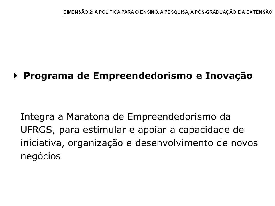 Programa de Empreendedorismo e Inovação Integra a Maratona de Empreendedorismo da UFRGS, para estimular e apoiar a capacidade de iniciativa, organização e desenvolvimento de novos negócios DIMENSÃO 2: A POLÍTICA PARA O ENSINO, A PESQUISA, A PÓS-GRADUAÇÃO E A EXTENSÃO