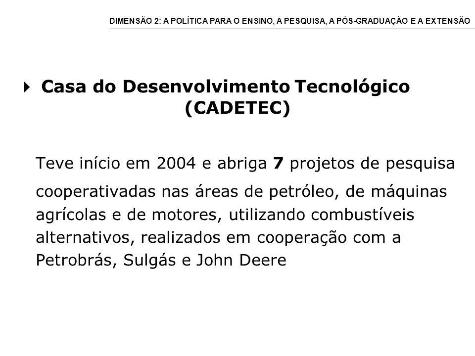 Casa do Desenvolvimento Tecnológico (CADETEC) Teve início em 2004 e abriga 7 projetos de pesquisa cooperativadas nas áreas de petróleo, de máquinas agrícolas e de motores, utilizando combustíveis alternativos, realizados em cooperação com a Petrobrás, Sulgás e John Deere DIMENSÃO 2: A POLÍTICA PARA O ENSINO, A PESQUISA, A PÓS-GRADUAÇÃO E A EXTENSÃO