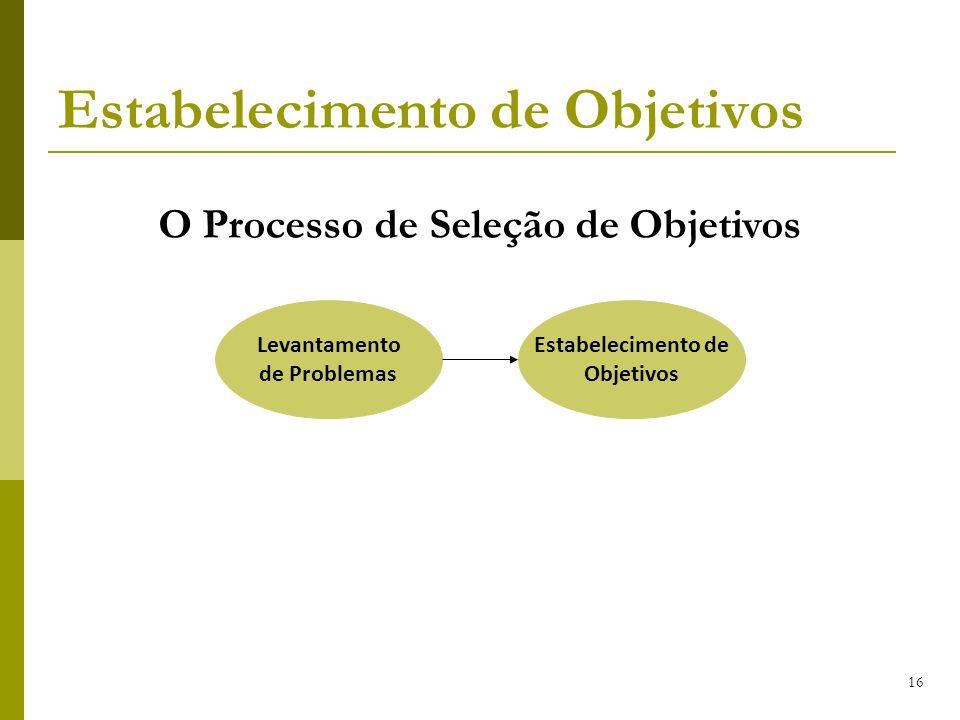 16 Levantamento de Problemas Estabelecimento de Objetivos Estabelecimento de Objetivos O Processo de Seleção de Objetivos