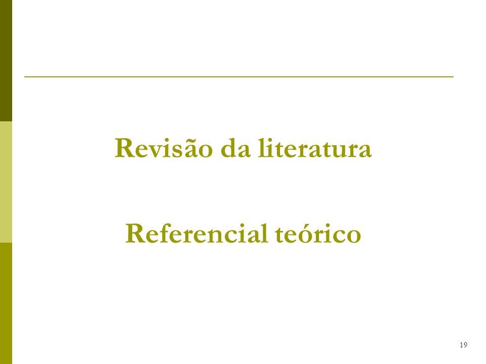 19 Revisão da literatura Referencial teórico