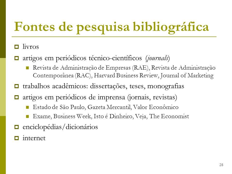 28 Fontes de pesquisa bibliográfica livros artigos em periódicos técnico-científicos (journals) Revista de Administração de Empresas (RAE), Revista de
