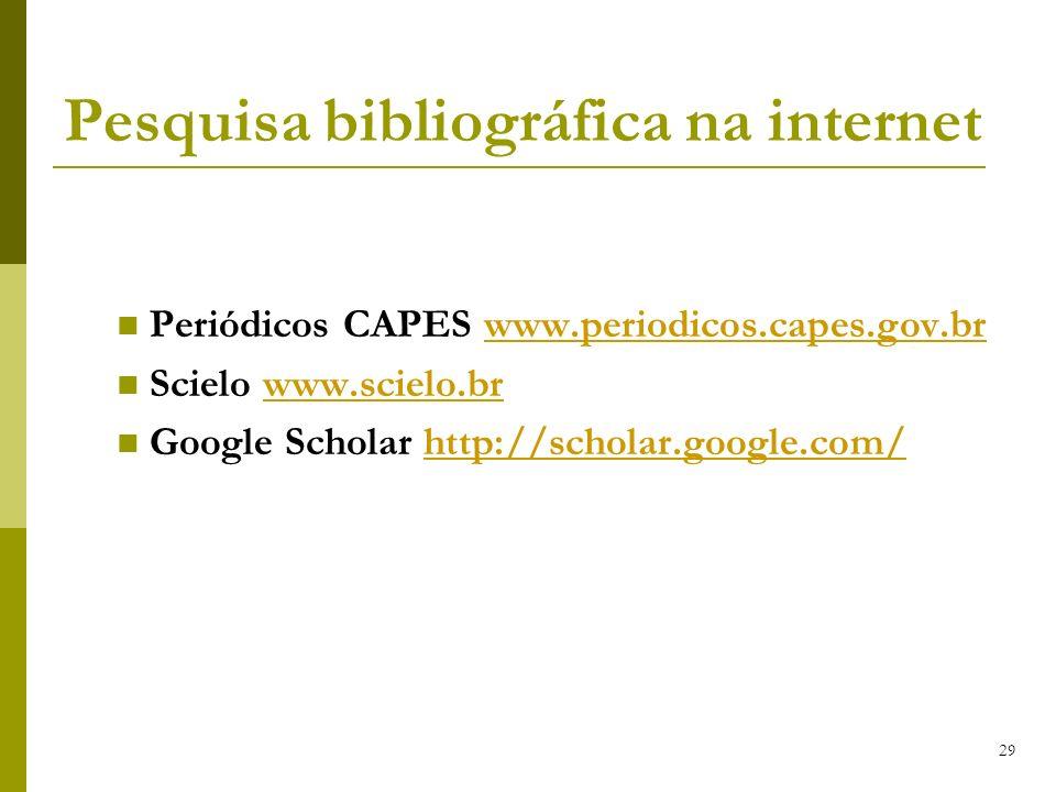 29 Pesquisa bibliográfica na internet Periódicos CAPES www.periodicos.capes.gov.brwww.periodicos.capes.gov.br Scielo www.scielo.brwww.scielo.br Google