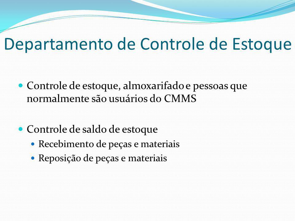 Departamento de Controle de Estoque Controle de estoque, almoxarifado e pessoas que normalmente são usuários do CMMS Controle de saldo de estoque Rece