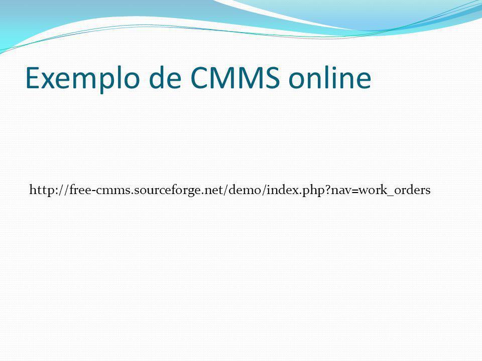 Exemplo de CMMS online http://free-cmms.sourceforge.net/demo/index.php?nav=work_orders