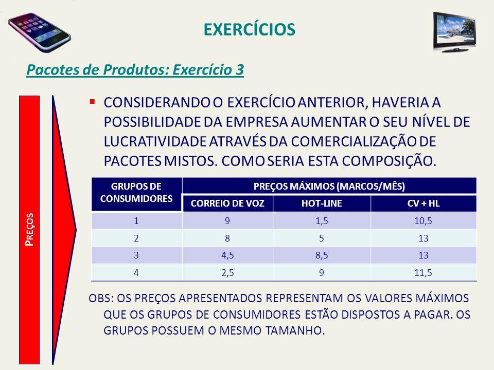 EXERCÍCIOS Pacotes de Produtos: Exercício 3 P REÇOS CONSIDERANDO O EXERCÍCIO ANTERIOR, HAVERIA A POSSIBILIDADE DA EMPRESA AUMENTAR O SEU NÍVEL DE LUCR