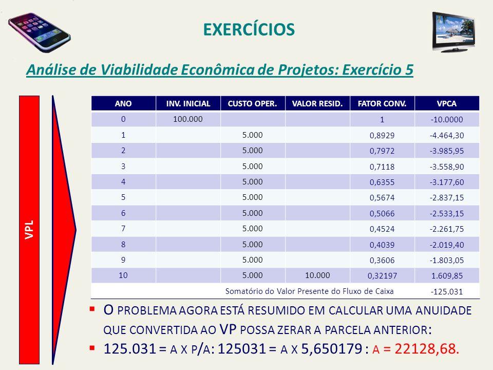 EXERCÍCIOS Análise de Viabilidade Econômica de Projetos: Exercício 5 VPL ANOINV. INICIALCUSTO OPER.VALOR RESID.FATOR CONV.VPCA 0100.0001-10.0000 15.00