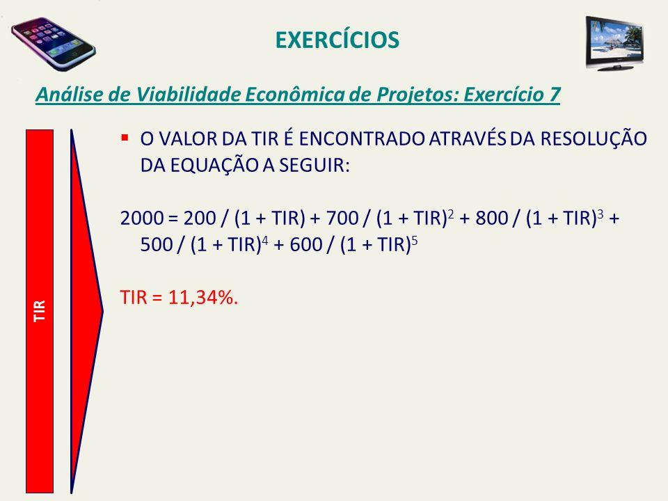 EXERCÍCIOS Análise de Viabilidade Econômica de Projetos: Exercício 7 TIR O VALOR DA TIR É ENCONTRADO ATRAVÉS DA RESOLUÇÃO DA EQUAÇÃO A SEGUIR: 2000 =