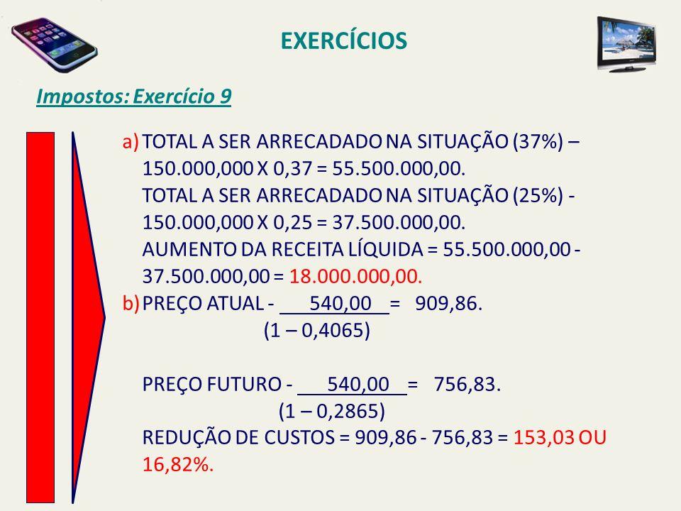 EXERCÍCIOS Impostos: Exercício 9 a)TOTAL A SER ARRECADADO NA SITUAÇÃO (37%) – 150.000,000 X 0,37 = 55.500.000,00. TOTAL A SER ARRECADADO NA SITUAÇÃO (