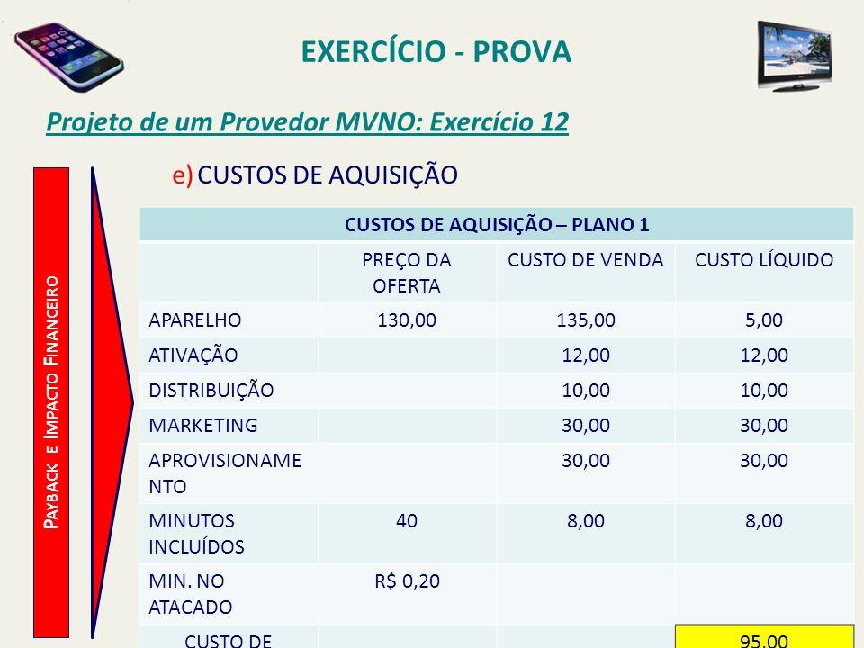 EXERCÍCIO - PROVA Projeto de um Provedor MVNO: Exercício 12 e)CUSTOS DE AQUISIÇÃO CUSTOS DE AQUISIÇÃO – PLANO 1 PREÇO DA OFERTA CUSTO DE VENDACUSTO LÍ