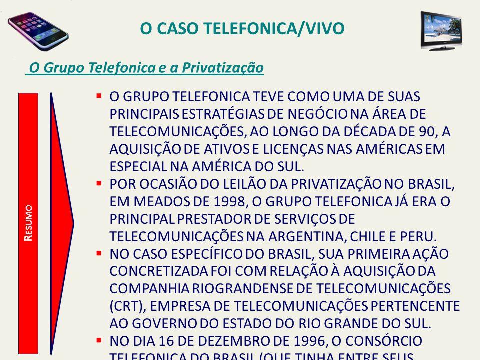 O CASO TELEFONICA/VIVO O Grupo Telefonica e a Privatização R ESUMO O GRUPO TELEFONICA TEVE COMO UMA DE SUAS PRINCIPAIS ESTRATÉGIAS DE NEGÓCIO NA ÁREA