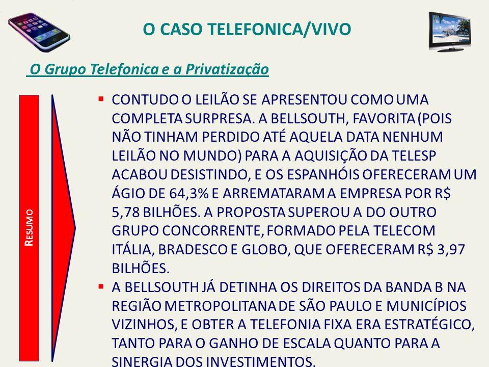 O CASO TELEFONICA/VIVO O Grupo Telefonica e a Privatização R ESUMO CONTUDO O LEILÃO SE APRESENTOU COMO UMA COMPLETA SURPRESA. A BELLSOUTH, FAVORITA (P