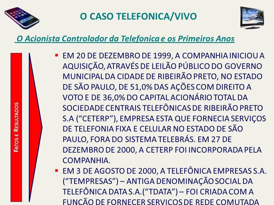 O CASO TELEFONICA/VIVO O Acionista Controlador da Telefonica e os Primeiros Anos F ATOS E R ESULTADOS EM 20 DE DEZEMBRO DE 1999, A COMPANHIA INICIOU A