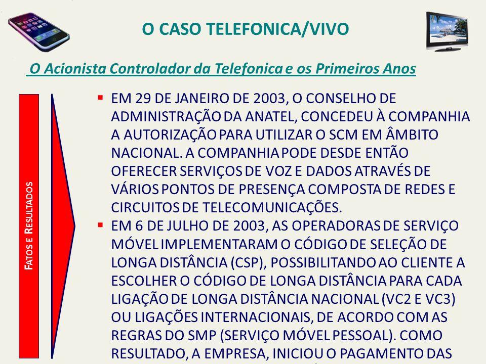O CASO TELEFONICA/VIVO O Acionista Controlador da Telefonica e os Primeiros Anos F ATOS E R ESULTADOS EM 29 DE JANEIRO DE 2003, O CONSELHO DE ADMINIST