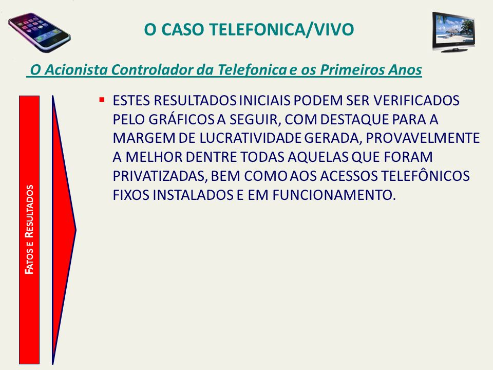 O CASO TELEFONICA/VIVO O Acionista Controlador da Telefonica e os Primeiros Anos F ATOS E R ESULTADOS ESTES RESULTADOS INICIAIS PODEM SER VERIFICADOS