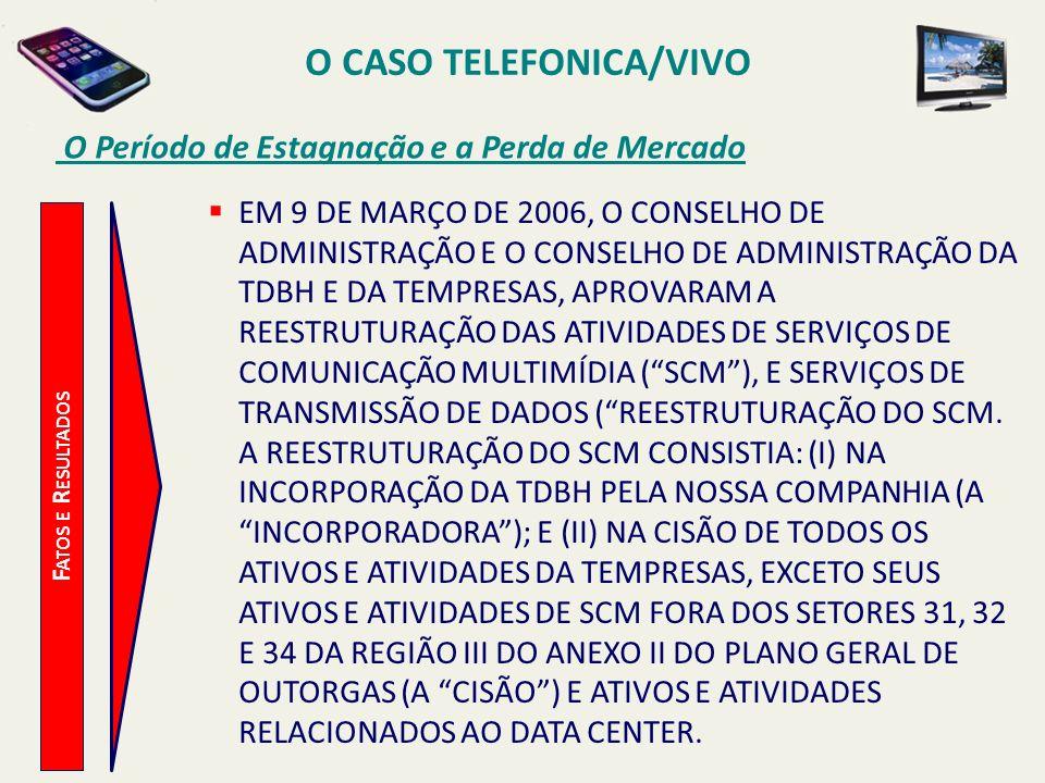O CASO TELEFONICA/VIVO O Período de Estagnação e a Perda de Mercado F ATOS E R ESULTADOS EM 9 DE MARÇO DE 2006, O CONSELHO DE ADMINISTRAÇÃO E O CONSEL