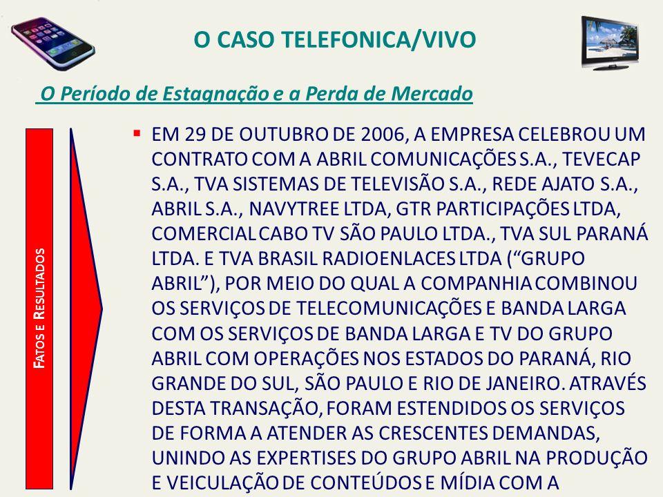 O CASO TELEFONICA/VIVO O Período de Estagnação e a Perda de Mercado F ATOS E R ESULTADOS EM 29 DE OUTUBRO DE 2006, A EMPRESA CELEBROU UM CONTRATO COM