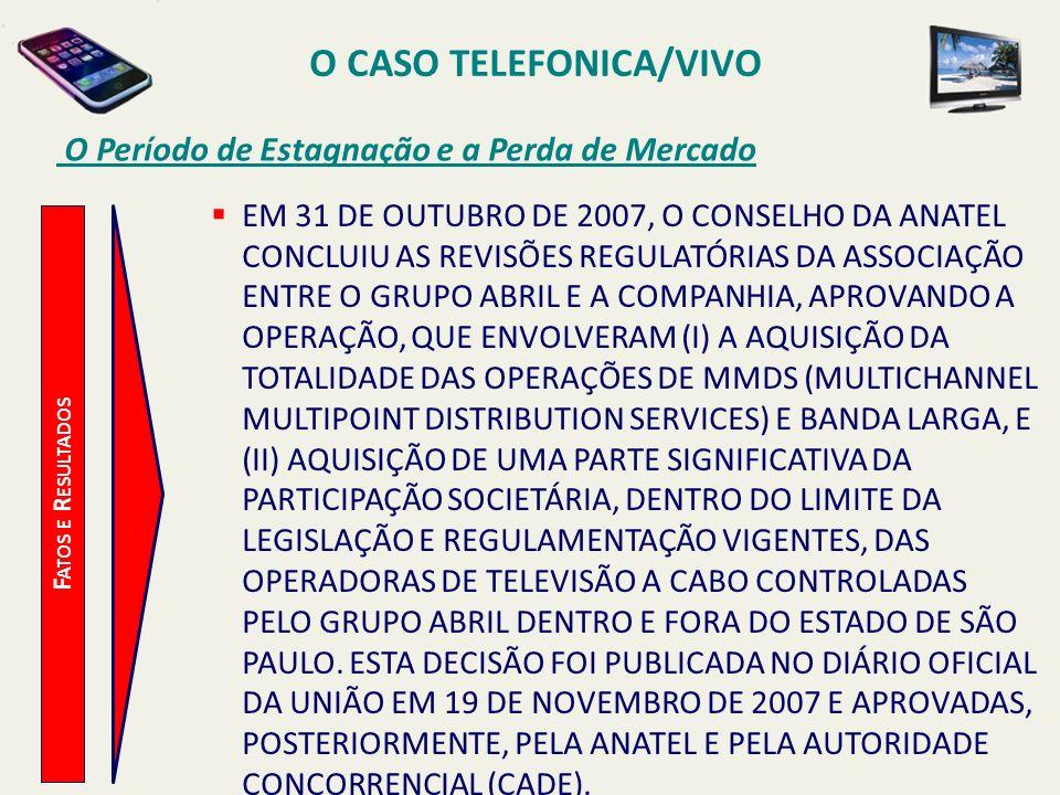 O CASO TELEFONICA/VIVO O Período de Estagnação e a Perda de Mercado F ATOS E R ESULTADOS EM 31 DE OUTUBRO DE 2007, O CONSELHO DA ANATEL CONCLUIU AS RE