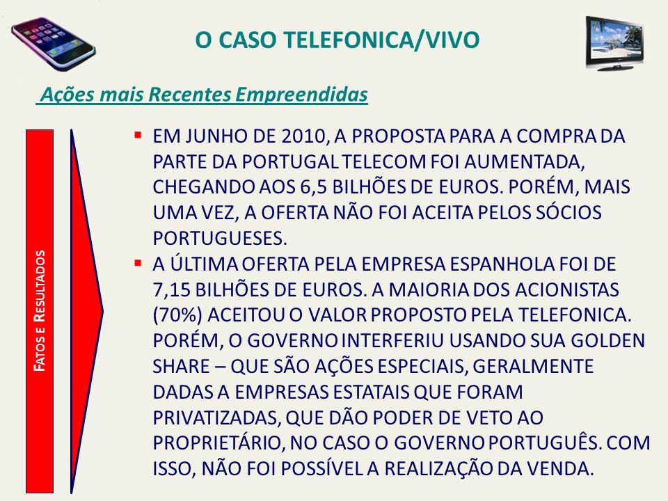 O CASO TELEFONICA/VIVO Ações mais Recentes Empreendidas F ATOS E R ESULTADOS EM JUNHO DE 2010, A PROPOSTA PARA A COMPRA DA PARTE DA PORTUGAL TELECOM F