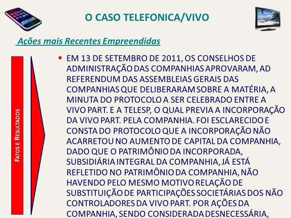 O CASO TELEFONICA/VIVO Ações mais Recentes Empreendidas F ATOS E R ESULTADOS EM 13 DE SETEMBRO DE 2011, OS CONSELHOS DE ADMINISTRAÇÃO DAS COMPANHIAS A