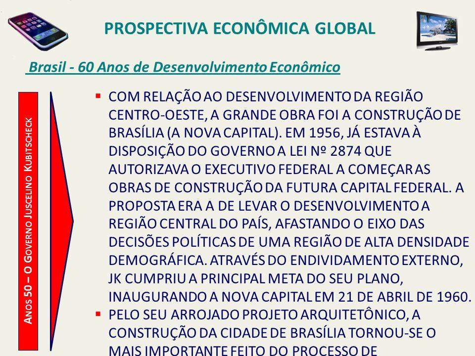 PROSPECTIVA ECONÔMICA GLOBAL Brasil - 60 Anos de Desenvolvimento Econômico A NOS 50 – O G OVERNO J USCELINO K UBITSCHECK COM RELAÇÃO AO DESENVOLVIMENT