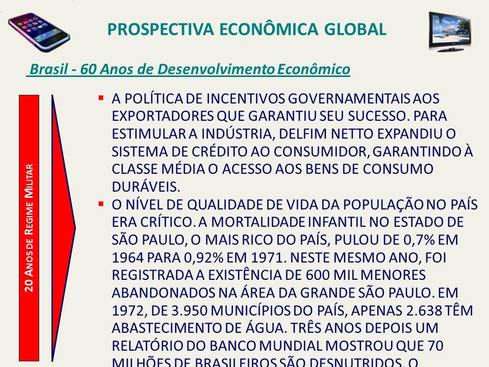 PROSPECTIVA ECONÔMICA GLOBAL Brasil - 60 Anos de Desenvolvimento Econômico 20 A NOS DE R EGIME M ILITAR A POLÍTICA DE INCENTIVOS GOVERNAMENTAIS AOS EX