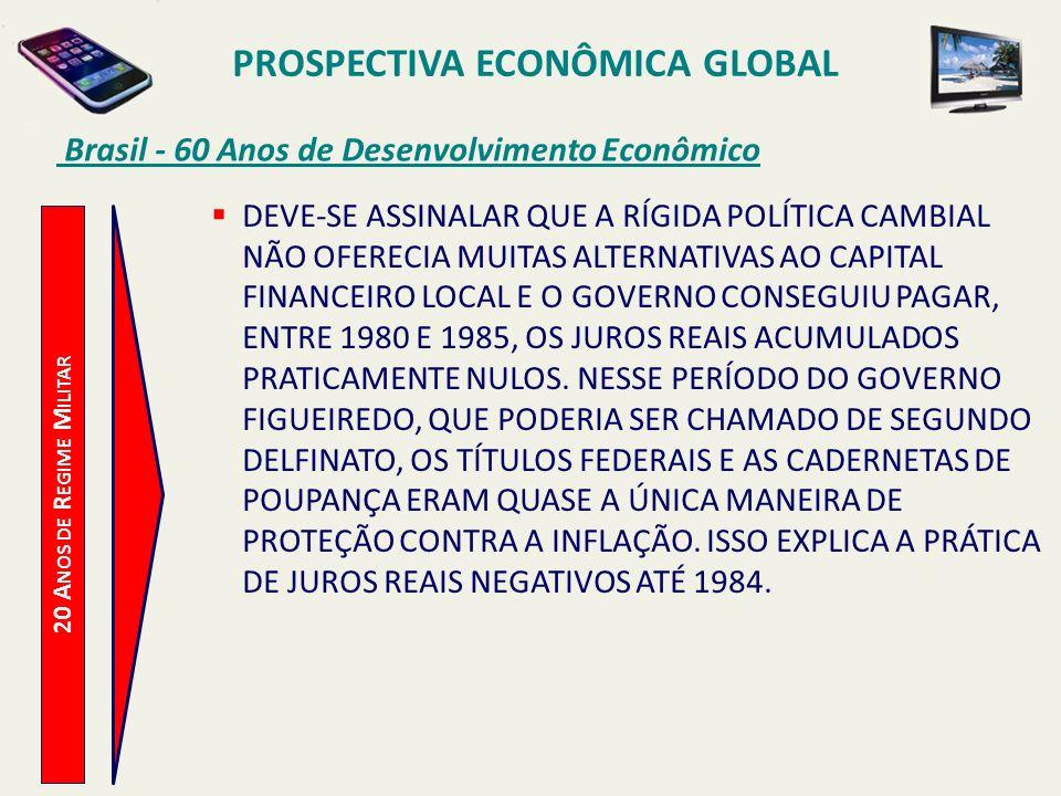 PROSPECTIVA ECONÔMICA GLOBAL Brasil - 60 Anos de Desenvolvimento Econômico 20 A NOS DE R EGIME M ILITAR DEVE-SE ASSINALAR QUE A RÍGIDA POLÍTICA CAMBIA