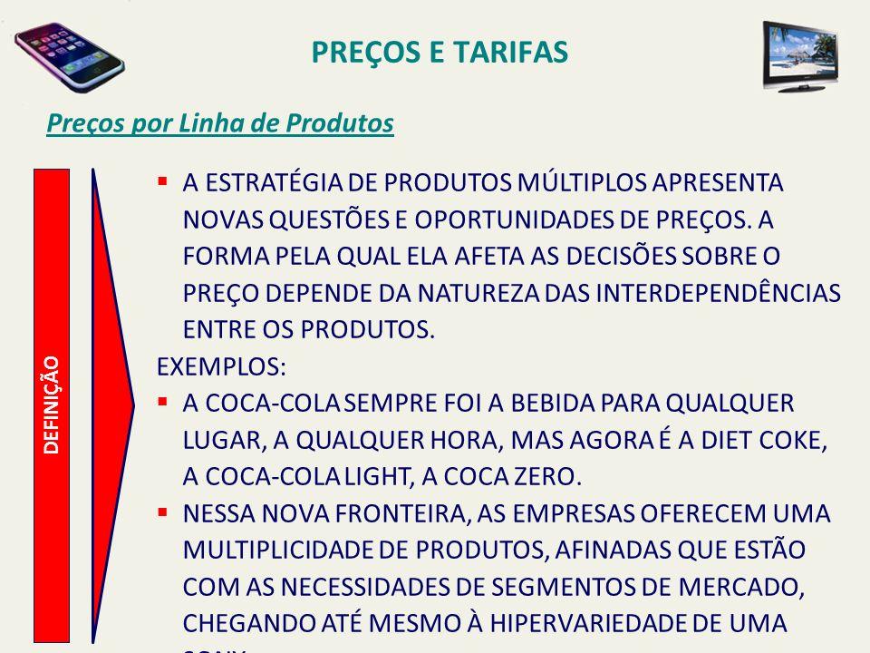 PREÇOS E TARIFAS Preços por Linha de Produtos DEFINIÇÃO A ESTRATÉGIA DE PRODUTOS MÚLTIPLOS APRESENTA NOVAS QUESTÕES E OPORTUNIDADES DE PREÇOS. A FORMA