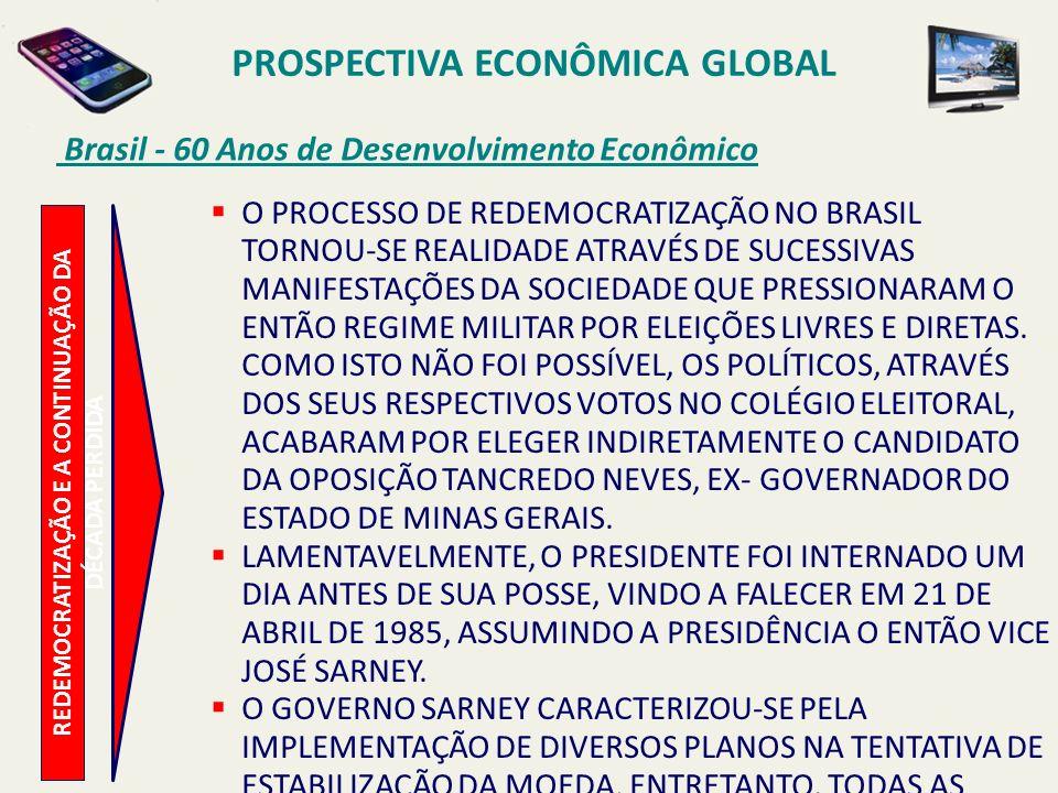 PROSPECTIVA ECONÔMICA GLOBAL Brasil - 60 Anos de Desenvolvimento Econômico REDEMOCRATIZAÇÃO E A CONTINUAÇÃO DA DÉCADA PERDIDA O PROCESSO DE REDEMOCRAT