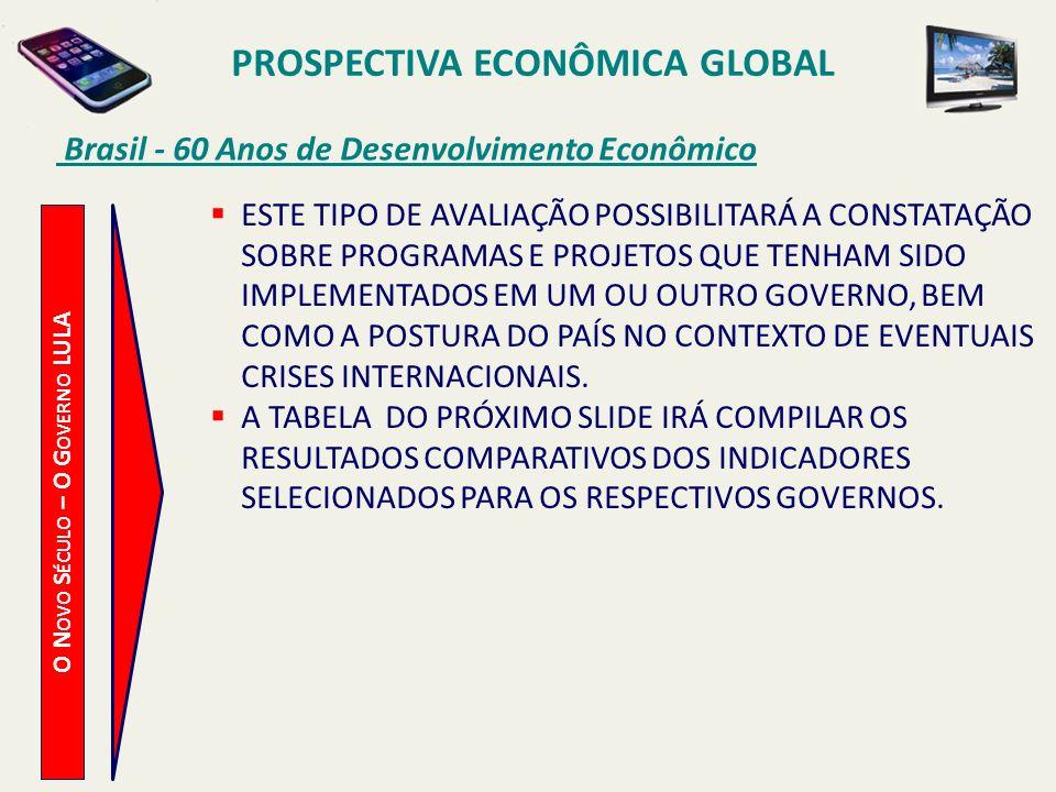 PROSPECTIVA ECONÔMICA GLOBAL Brasil - 60 Anos de Desenvolvimento Econômico O N OVO S ÉCULO – O G OVERNO LULA ESTE TIPO DE AVALIAÇÃO POSSIBILITARÁ A CO