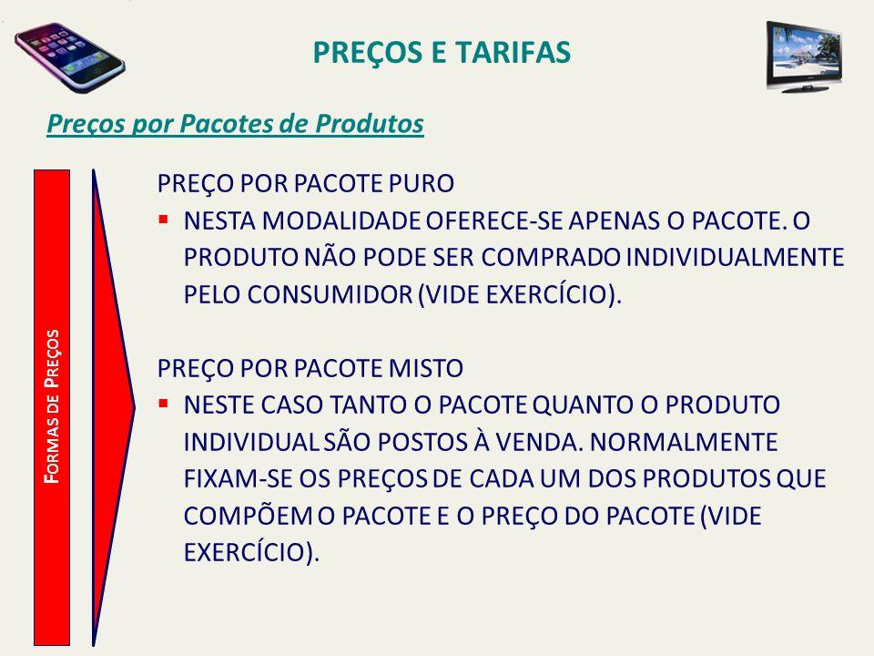 PREÇOS E TARIFAS Preços por Pacotes de Produtos F ORMAS DE P REÇOS PREÇO POR PACOTE PURO NESTA MODALIDADE OFERECE-SE APENAS O PACOTE. O PRODUTO NÃO PO