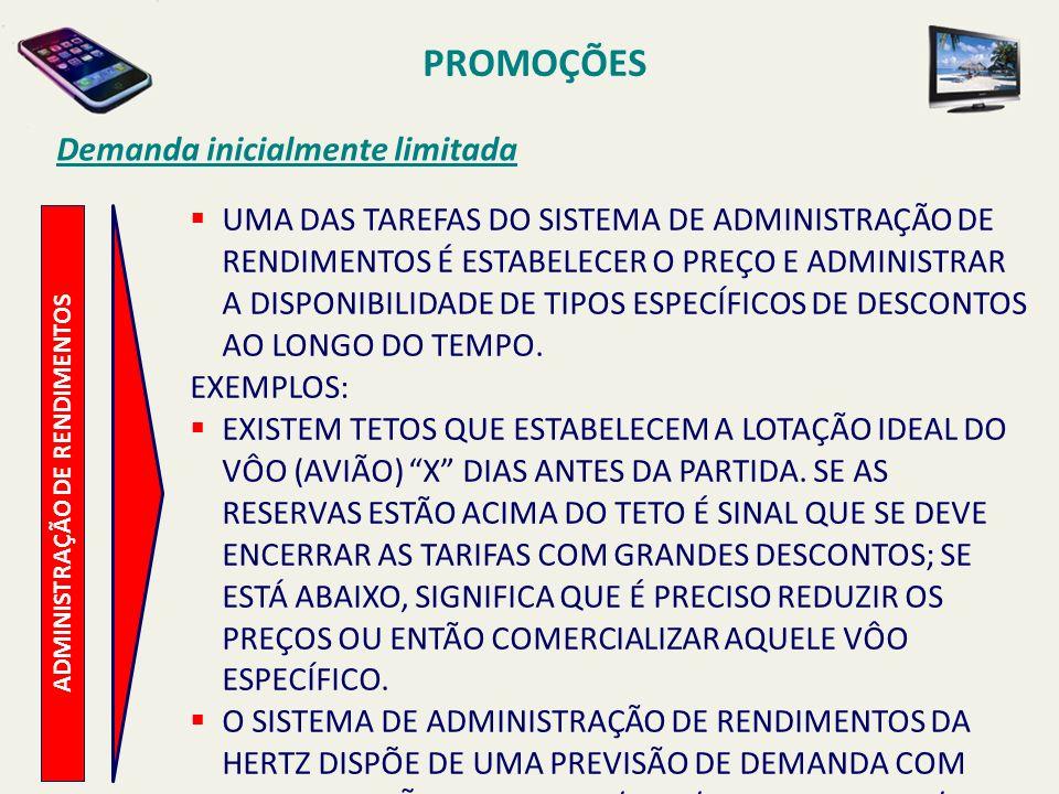 PROMOÇÕES Demanda inicialmente limitada ADMINISTRAÇÃO DE RENDIMENTOS UMA DAS TAREFAS DO SISTEMA DE ADMINISTRAÇÃO DE RENDIMENTOS É ESTABELECER O PREÇO