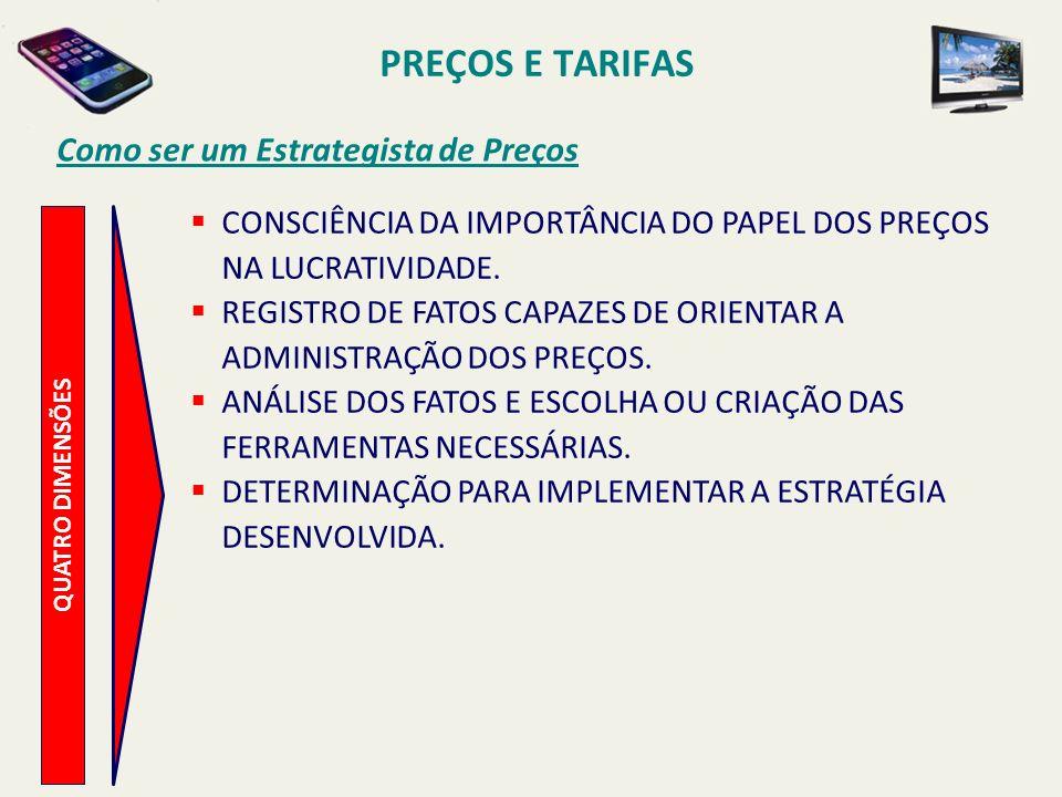 PREÇOS E TARIFAS Como ser um Estrategista de Preços QUATRO DIMENSÕES CONSCIÊNCIA DA IMPORTÂNCIA DO PAPEL DOS PREÇOS NA LUCRATIVIDADE. REGISTRO DE FATO