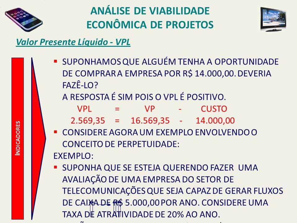 Valor Presente Líquido - VPL I NDICADORES SUPONHAMOS QUE ALGUÉM TENHA A OPORTUNIDADE DE COMPRAR A EMPRESA POR R$ 14.000,00. DEVERIA FAZÊ-LO? A RESPOST