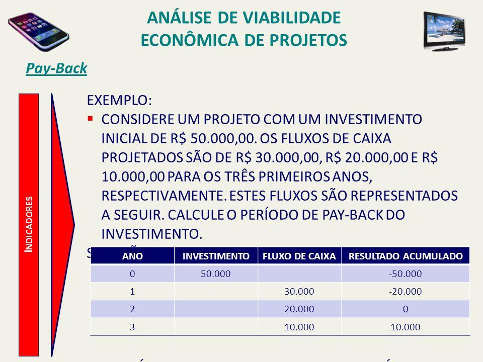 Pay-Back I NDICADORES EXEMPLO: CONSIDERE UM PROJETO COM UM INVESTIMENTO INICIAL DE R$ 50.000,00. OS FLUXOS DE CAIXA PROJETADOS SÃO DE R$ 30.000,00, R$