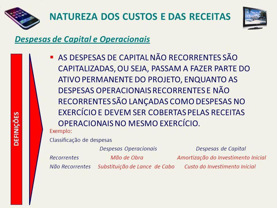 Despesas de Capital e Operacionais DEFINIÇÕES AS DESPESAS DE CAPITAL NÃO RECORRENTES SÃO CAPITALIZADAS, OU SEJA, PASSAM A FAZER PARTE DO ATIVO PERMANE