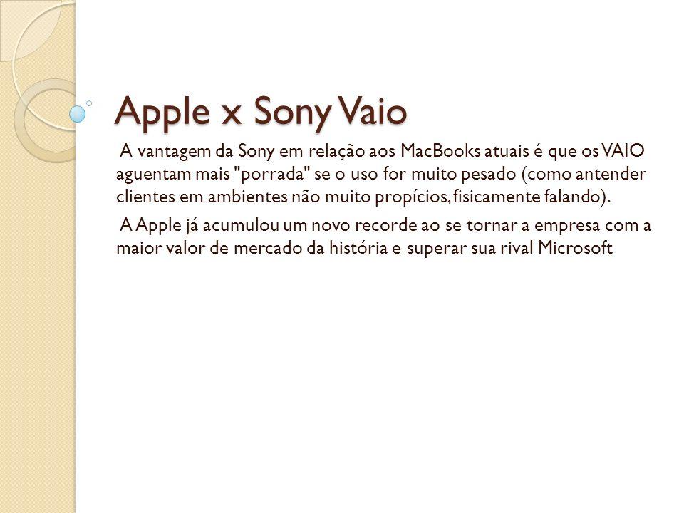 Apple x Sony Vaio A vantagem da Sony em relação aos MacBooks atuais é que os VAIO aguentam mais