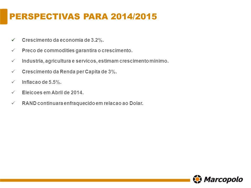 PERSPECTIVAS PARA 2014/2015 Crescimento da economia de 3.2%. Preco de commodities garantira o crescimento. Industria, agricultura e servicos, estimam