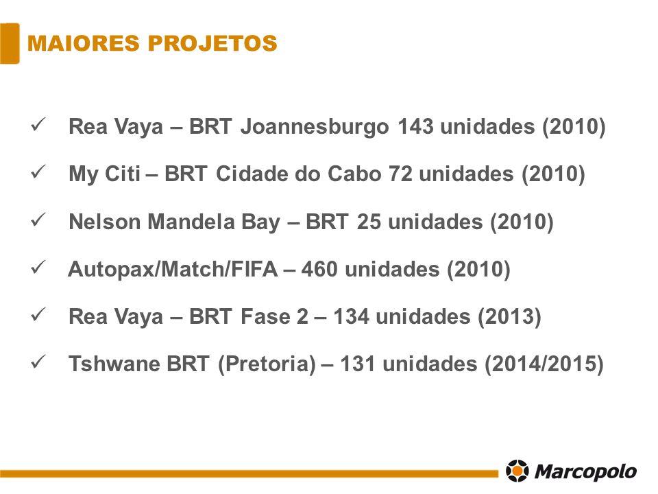 MAIORES PROJETOS Rea Vaya – BRT Joannesburgo 143 unidades (2010) My Citi – BRT Cidade do Cabo 72 unidades (2010) Nelson Mandela Bay – BRT 25 unidades