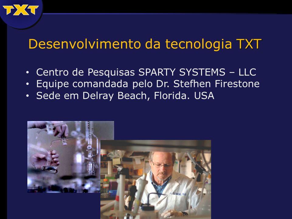 TXT Desenvolvimento da tecnologia TXT Centro de Pesquisas SPARTY SYSTEMS – LLC Equipe comandada pelo Dr. Stefhen Firestone Sede em Delray Beach, Flori