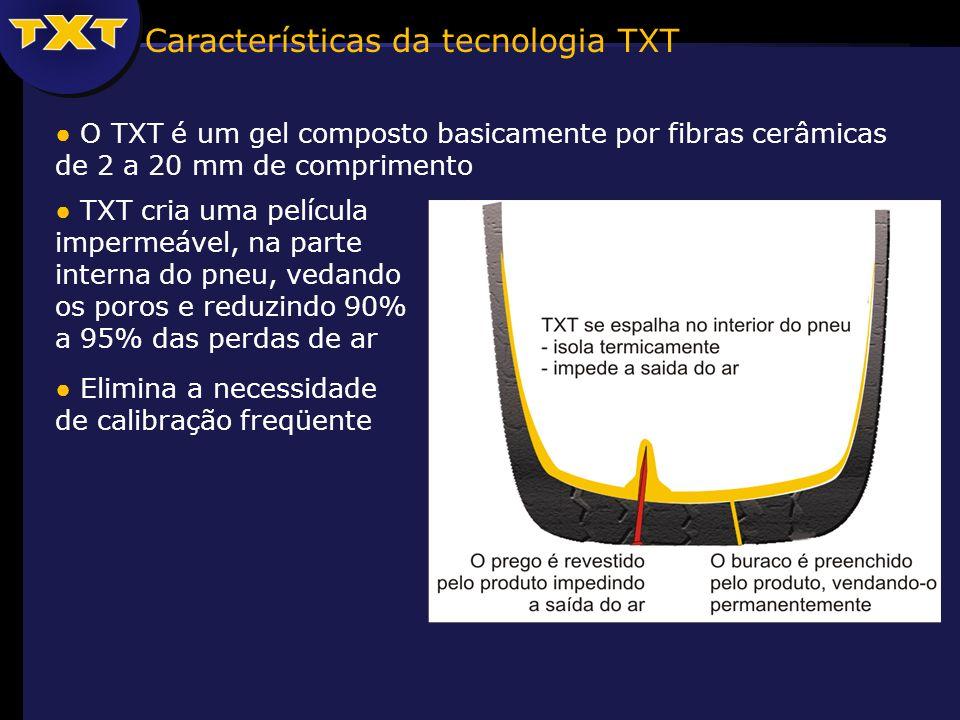 TXT cria uma película impermeável, na parte interna do pneu, vedando os poros e reduzindo 90% a 95% das perdas de ar Elimina a necessidade de calibração freqüente Características da tecnologia TXT O TXT é um gel composto basicamente por fibras cerâmicas de 2 a 20 mm de comprimento