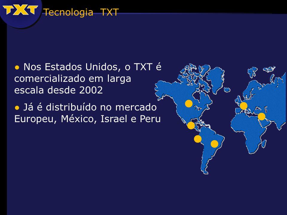 Nos Estados Unidos, o TXT é comercializado em larga escala desde 2002 Já é distribuído no mercado Europeu, México, Israel e Peru Tecnologia TXT