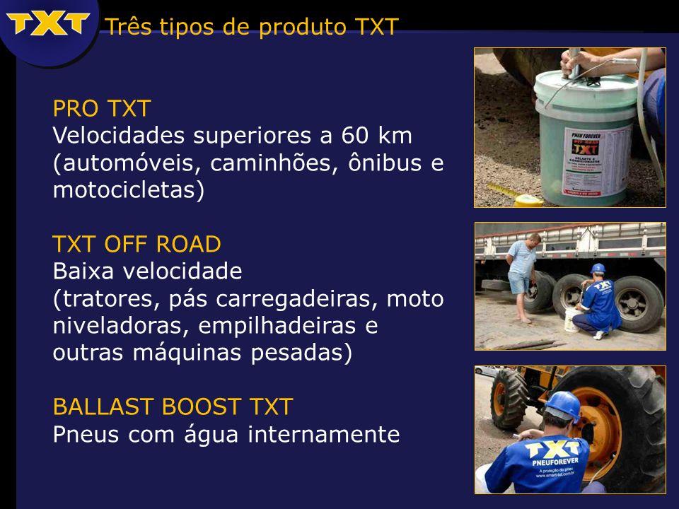 Três tipos de produto TXT PRO TXT Velocidades superiores a 60 km (automóveis, caminhões, ônibus e motocicletas) TXT OFF ROAD Baixa velocidade (tratores, pás carregadeiras, moto niveladoras, empilhadeiras e outras máquinas pesadas) BALLAST BOOST TXT Pneus com água internamente