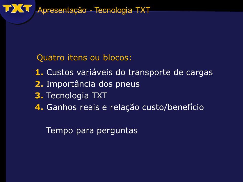 Apresentação - Tecnologia TXT 1. Custos variáveis do transporte de cargas 2. Importância dos pneus 3. Tecnologia TXT 4. Ganhos reais e relação custo/b