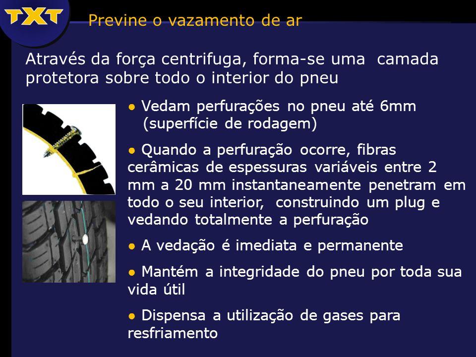 Através da força centrifuga, forma-se uma camada protetora sobre todo o interior do pneu Vedam perfurações no pneu até 6mm (superfície de rodagem) Quando a perfuração ocorre, fibras cerâmicas de espessuras variáveis entre 2 mm a 20 mm instantaneamente penetram em todo o seu interior, construindo um plug e vedando totalmente a perfuração A vedação é imediata e permanente Mantém a integridade do pneu por toda sua vida útil Dispensa a utilização de gases para resfriamento Previne o vazamento de ar