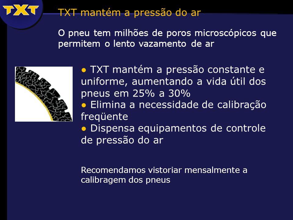 O pneu tem milhões de poros microscópicos que permitem o lento vazamento de ar TXT mantém a pressão do ar TXT mantém a pressão constante e uniforme, aumentando a vida útil dos pneus em 25% a 30% Elimina a necessidade de calibração freqüente Dispensa equipamentos de controle de pressão do ar Recomendamos vistoriar mensalmente a calibragem dos pneus