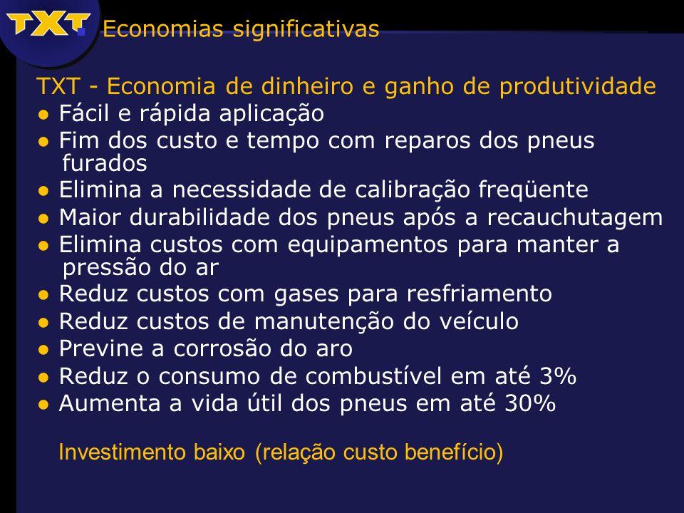 TXT - Economia de dinheiro e ganho de produtividade Fácil e rápida aplicação Fim dos custo e tempo com reparos dos pneus furados Elimina a necessidade