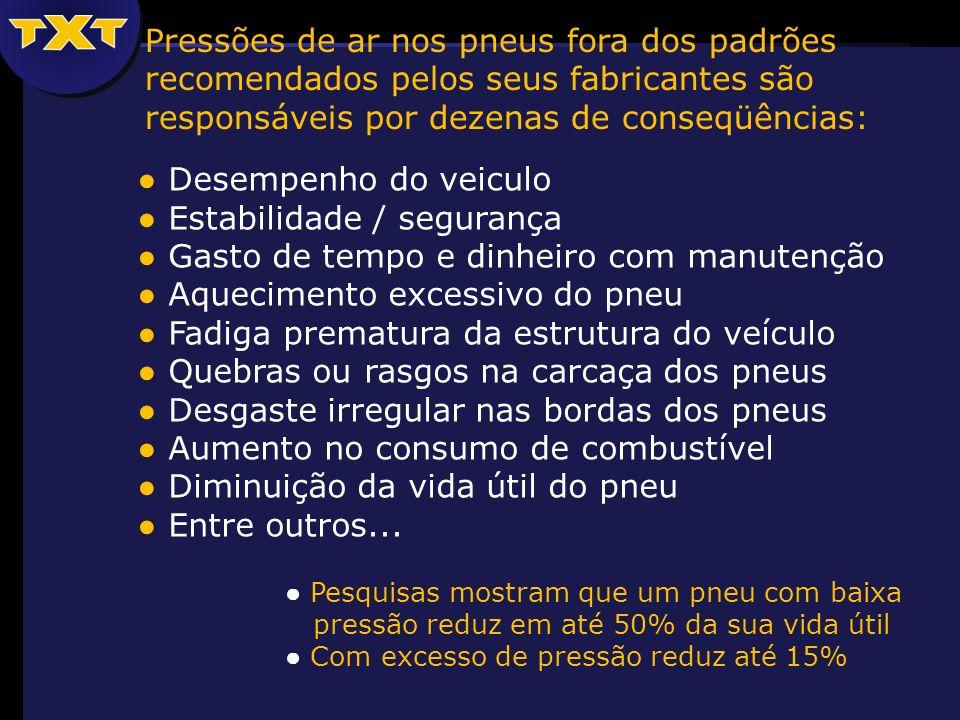 Desempenho do veiculo Estabilidade / segurança Gasto de tempo e dinheiro com manutenção Aquecimento excessivo do pneu Fadiga prematura da estrutura do