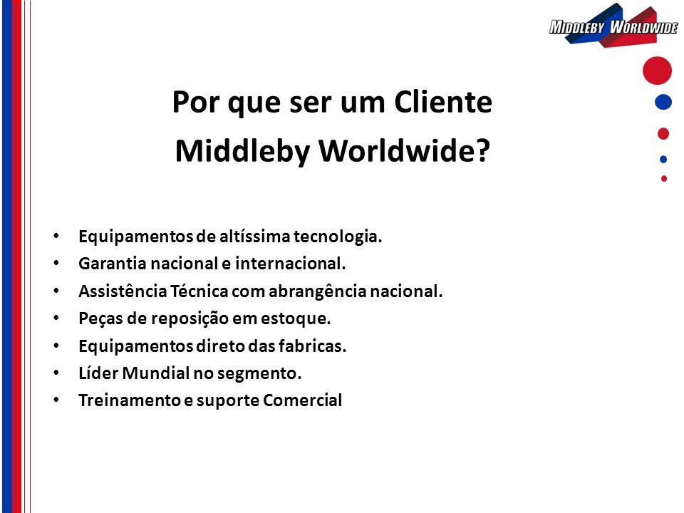 Por que ser um Cliente Middleby Worldwide? Equipamentos de altíssima tecnologia. Garantia nacional e internacional. Assistência Técnica com abrangênci