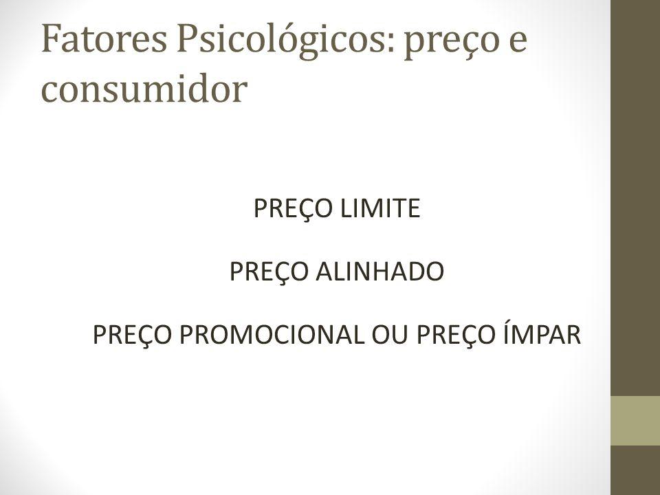 Fatores Psicológicos: preço e consumidor PREÇO LIMITE PREÇO ALINHADO PREÇO PROMOCIONAL OU PREÇO ÍMPAR