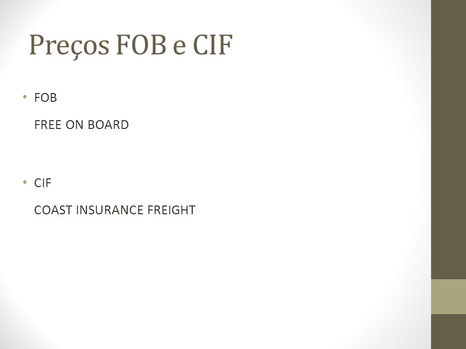 Preços FOB e CIF FOB FREE ON BOARD CIF COAST INSURANCE FREIGHT